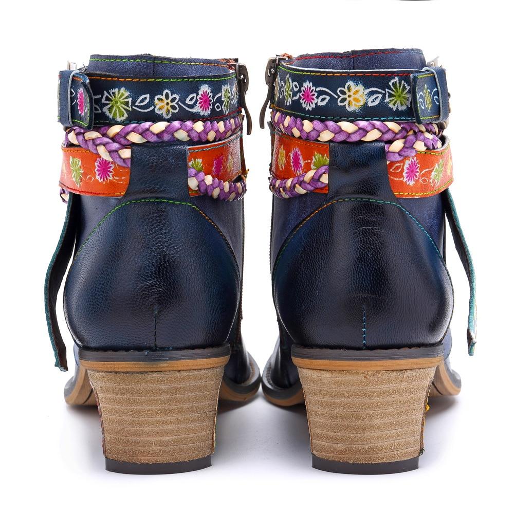 Chaussures Femme En Vintage Cuir Strap 2019 Véritable Boot Bohême Fleur Nouveau Bleu Dames Femmes Bottes Johnature Zipper Cheville nOP0wkX8
