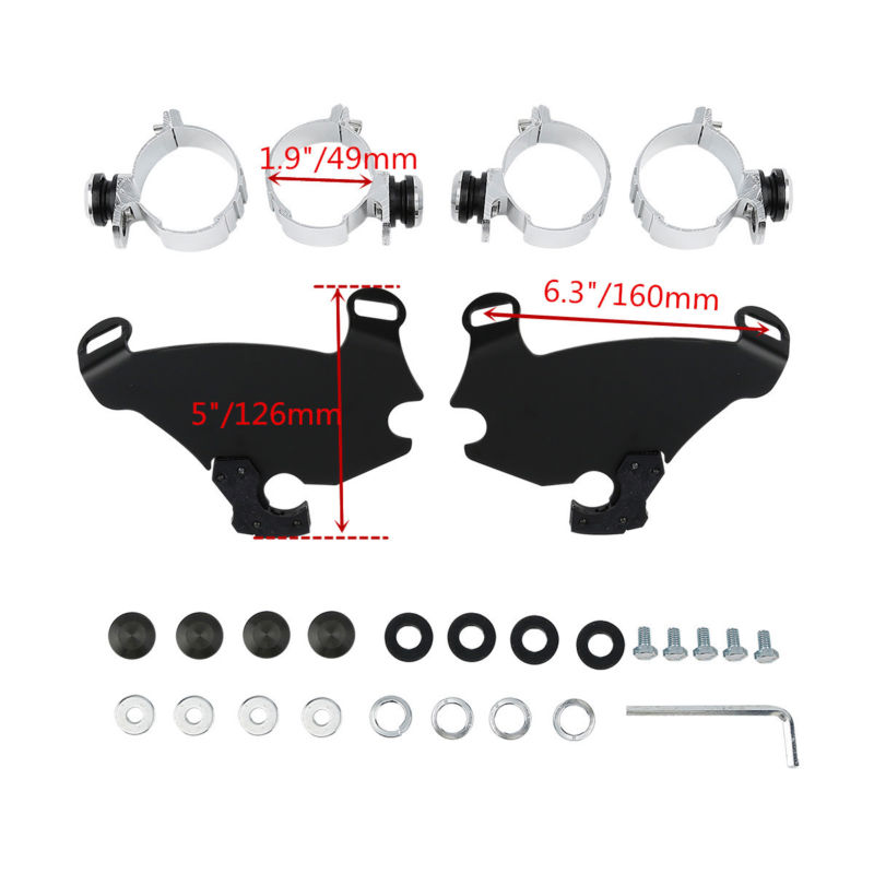 TCMT Motorcycle 49MM Gauntlet Fairing Lock Mount Kit For Harley Dyna Super Glide Low Rider Custom FXD FXDC FXDL headlamp visor cowl headlight fairing mask trigger lock mount kit for harley sportster 883 1200 dyna super glide low rider c 5