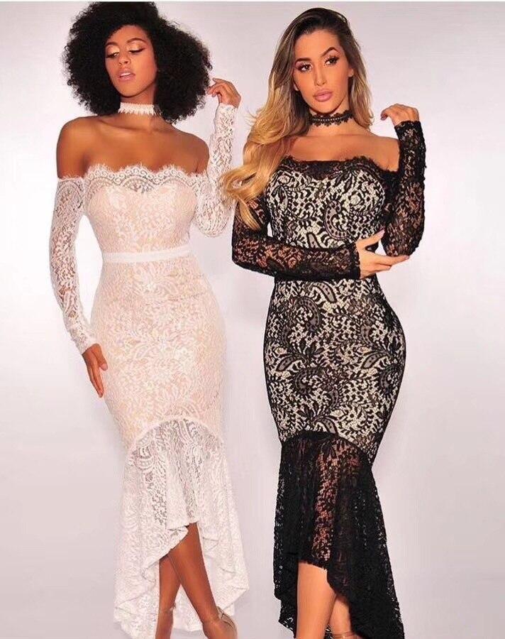 White Black lace slash neck floor - length wholesale 2017 fashion sexy  women lace long sleeve dropshipping