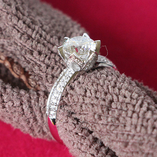 Fancy Water lily 1Ct Synthetic Diamonds Ring Solid 925 Sterling Silver Ring White Gold Color Engagement