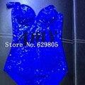 Moda Brillante Cristales Azules Traje Traje Dj Bar Rendimiento Cantante Femenina Traje Rhinestone Lleno de Diamantes Brillantes Leotardo