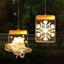 Christmas LED Holiday Snowflakes Santa Fairy Lights Battery Powered Hanging Ornaments Tree Party Home Decor