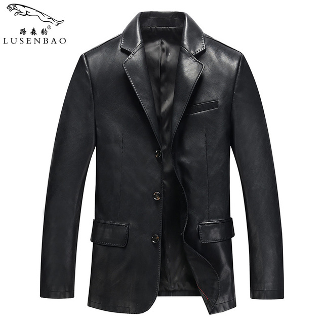 2016 factory foreign leather blazer Spring and Autumn middle-aged sheepskin men business casual jacket coat mens dad clothing