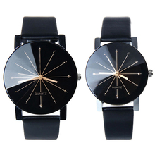 Males Ladies Vogue Leather-based Analog Stainless Metal Quartz Couple Wrist Watch New Color:Black (One Pair)
