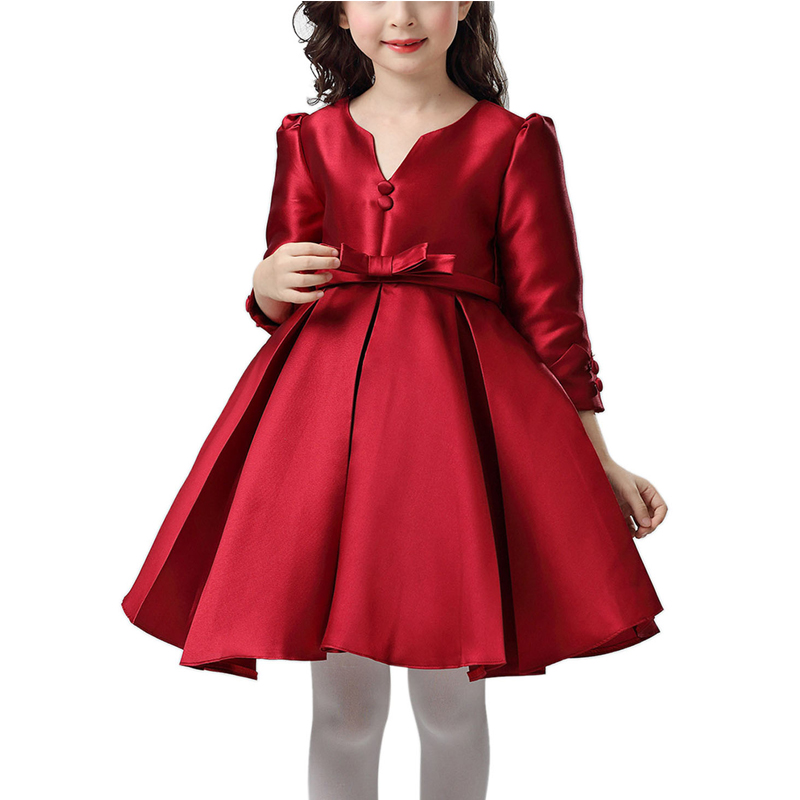 цена на New Elegant Girls Dresses Wedding Birthday Party Formal Christening Princess Girl Dress Red Evening Gown Kids Vestido 5-16 Years