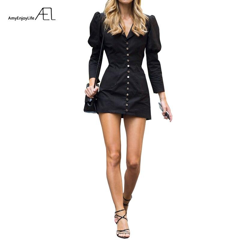 AEL Mini robe col en V simple boutonnage Sexy Slim robe femme 2019 nouvelles robes courtes chemise-style taille haute dame bureau vêtements