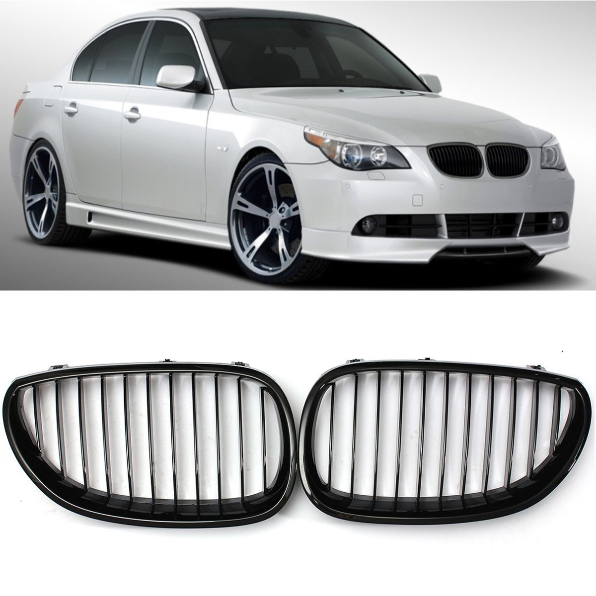 Gloss Black Front Sport Wide Kidney Grille Grill For BMW E60 E61 5 Series M5 03