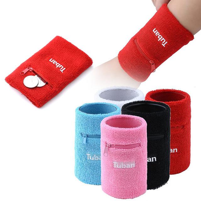 1pc Sports Wrist  Sweatbands Badminton Basketball Fitness Wraps Gym Running wristband Wrist Strap Safety Zipper Pockets S3