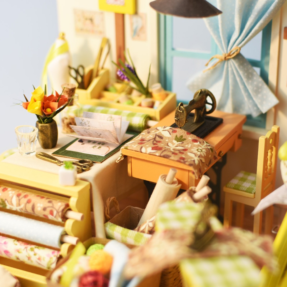 Robotime DIY Doll House Lisas Skräddare Barn Vuxen Miniatyr Trä - Dockor och tillbehör - Foto 5