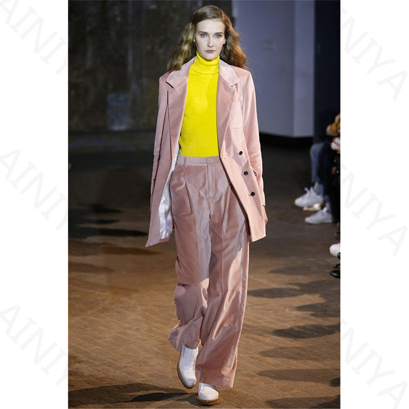 Pink Velvet Womens Business Suit Single Breasted Formal Office Uniform Evening Ladies Trouser Suit Wedding Tuxedo Slim Fit 2 Pcs