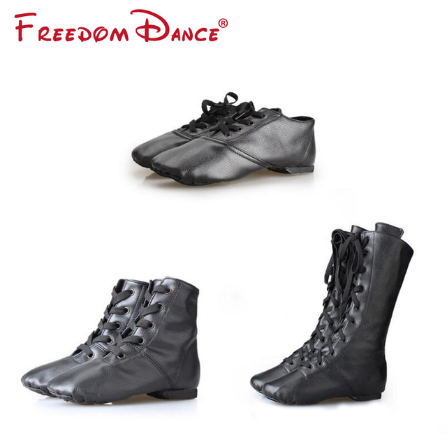 FreedomDance Dancesport Shoes PU Leather Jazz Dance Shoes Lace Up Boots Yoga Shoes Fitness Sneakers Optional Height Adult Unisex