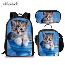 Jackherelook Primary School Bags Cute Adorable Kitten Cat Print Children Backpack Satchel Women Rucksack sac a dos enfant