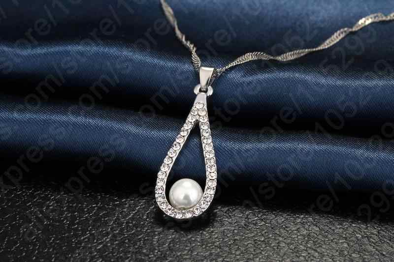 Luxury Lady 925 Sterling Silver Shining CZ Crystal Water Drop Artificial Pearl Necklaces Earring Set For Women Wedding Jewelry
