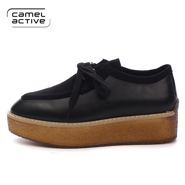 Camel Active Fashion Casual Shoes Women Platform Black Shoes With PU  Leather Lace-Up Spring
