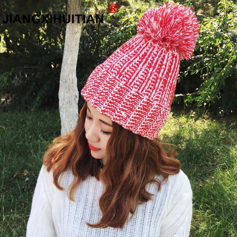 2018 new cute Knitting wool ball   skullies     beanies   Casual streetwear warm hat cap Women autumn winter   beanie   hat female