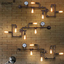 Steam punk Loft Industrial iron rust Water pipe retro wall lamp Vintage E27 sconce lights for living room restaurant bar bedroom цена