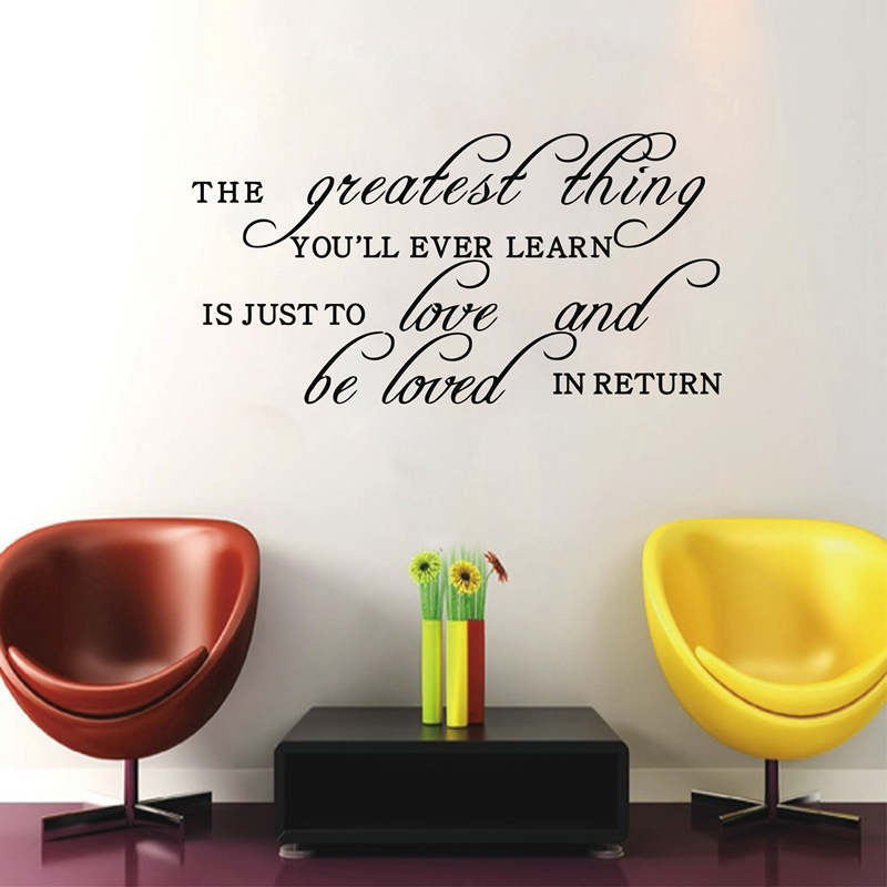 the greatest thing you'll ever learn is..Love and be loved vinyl wall stickers family quotes home decor free shipping image