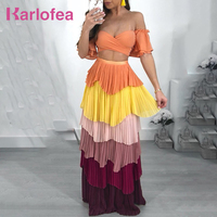 Karlofea Summer Fashion Boho Casual Chiffon Dress Sweet Patchwork Color Beach Party Two Piece Set Off Shoulder Strapless Dress