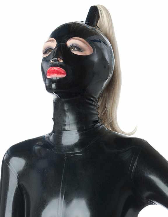 Новое поступление натуральный латексный капюшон Сексуальная латексная маска для лица конский хвост косплей Полный лицевой капюшон с задней молнией