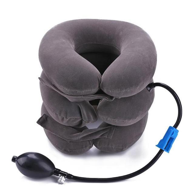 car headrest 3-Layered U-Shape Pillow Air Inflatable Vertebra Retractor Car Air Plane Travel Neck Support Tractor Treatment-Black