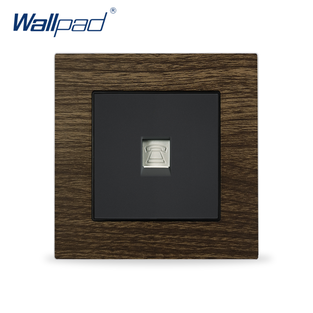 Tel RJ11 Wall Outlet For Home Wallpad Metal Panel Wood Design EU UK Telephone Wall SocketTel RJ11 Wall Outlet For Home Wallpad Metal Panel Wood Design EU UK Telephone Wall Socket