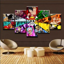 Wall Modular Framework Pictures For Living Room Decorative Popular 5 Panel One Piece Character Photo HD Poster Canvas Painting