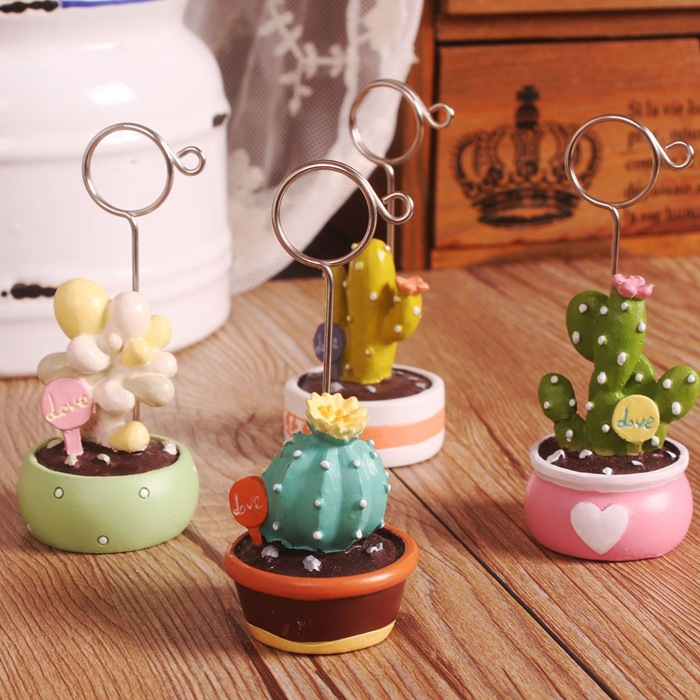 1 Piece Resin Kawaii Cactus Plants Photo Clip Note Clip Message Clip Business Card Clip Desktop Decorative Small Ornaments