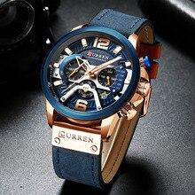Curren montre en cuir pour hommes, de luxe avec chronographe, de Sport, de luxe, horloge, étanche