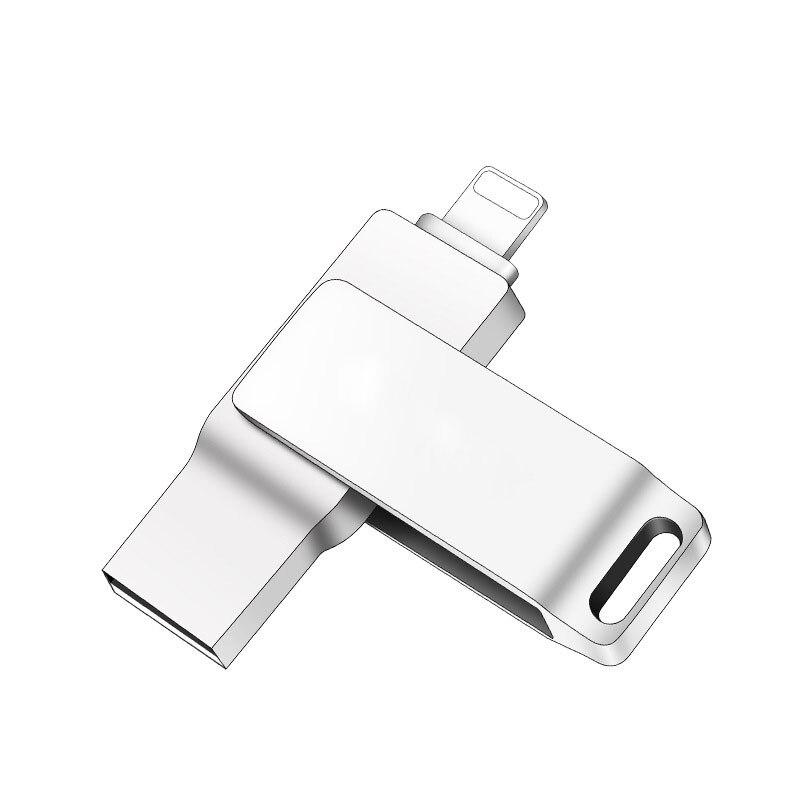 EASYA Metal USB Flash Drive 16GB 32GB 64GB 128GB 2-in-1 OTG Mini USB Stick for Lightning/USB 2.0 Pen Drive for iPhone Computer pofan 2 in 1 64gb mobile lightning