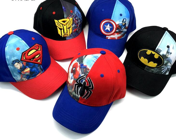 1pcs cartoon kids avengers Batman superman spider-man Fashion Sun Hat Casual Cosplay Baseball Cap children party gifts 50-52cm
