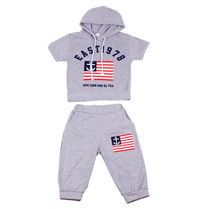 2017 New Summer Letters Printing Children clothing sets Boys Hooded T-shirt And Pants Suits Cotton kids clothes