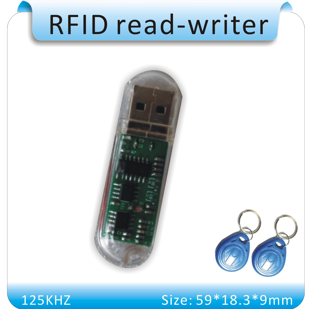 Free Shipping Mini USB 125KHZ RFID ID Card Reader & Writer&Copier /Duplication (T5557/T5567/T5577/EM4305)  +5pcs EM4305+5p T5557 hot selling em id card reader usb 125khz rfid card reader