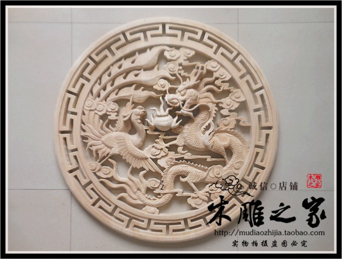 Dongyang wood carving antique Chinese phoenix pearl pendant hanging round the living room decoration handmade wood