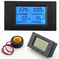 Digital LCD Panel Monitor AC Voltage Meters 100A/80~260V Power Energy Voltmeter Ammeter Watt Current Amps Volt Meter Tester