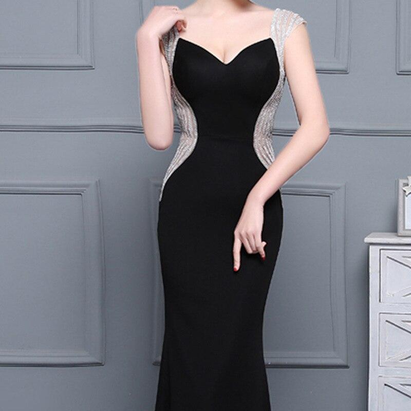 C'est Yiiya sexe noir dos nu Satin col en v fermeture éclair élégant robes de soirée sirène robe de soirée robes de soirée robes formelles LX180 - 5