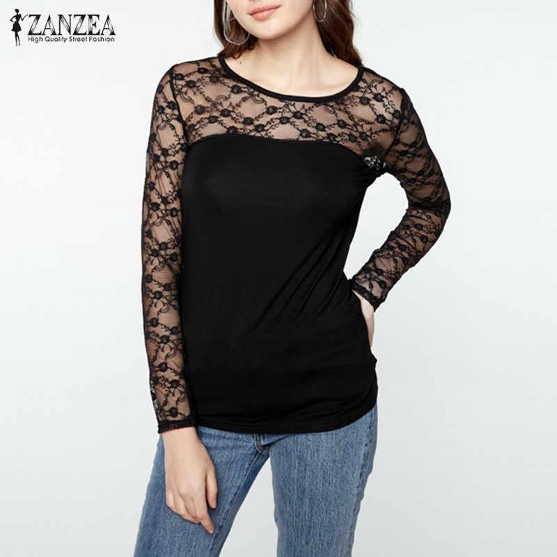 ZANZEA Vrouwen Lace Blouses Shirts 2019 Zomer Sexy Hollow Out Lange Mouwen O Neck Solid Top Plus Size See Through blusas Femininas