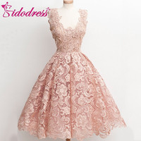 Real Photos New Arrival Short Mini Lace Prom Dresses Simple Scoop Neck Above Knee Party Dress