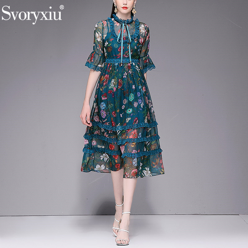 Svoryxiu 2019 Designer ฤดูร้อนชีฟองยาวผู้หญิง Vintage พิมพ์ดอกไม้ Boho Beach Holiday Dress Vestidos-ใน ชุดเดรส จาก เสื้อผ้าสตรี บน   1