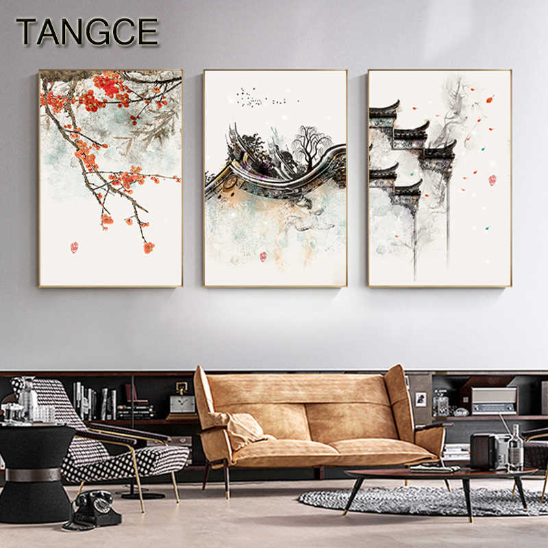 Ancient Buiding Peach Blossom Temple Nordic Poster Print Japanese Style Painting On The Wall Canvas Art Picture for Living Room