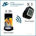 3 relógio + 20 botão de chamada de suporte do menu do restaurante equipamentos forsale equipamentos garçom bip eletrônico Equipamento de Serviço do sistema
