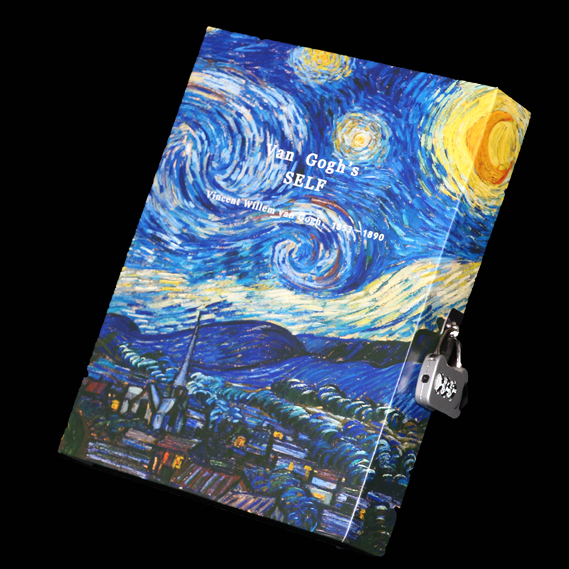 Fashion Vintage Diary with Lock Password Notepad Boxed Notebook and Journal Diary Lockbutton Hardcover Note Book Van Gogh|vintage diary|diary with lock|fashion diaries - title=