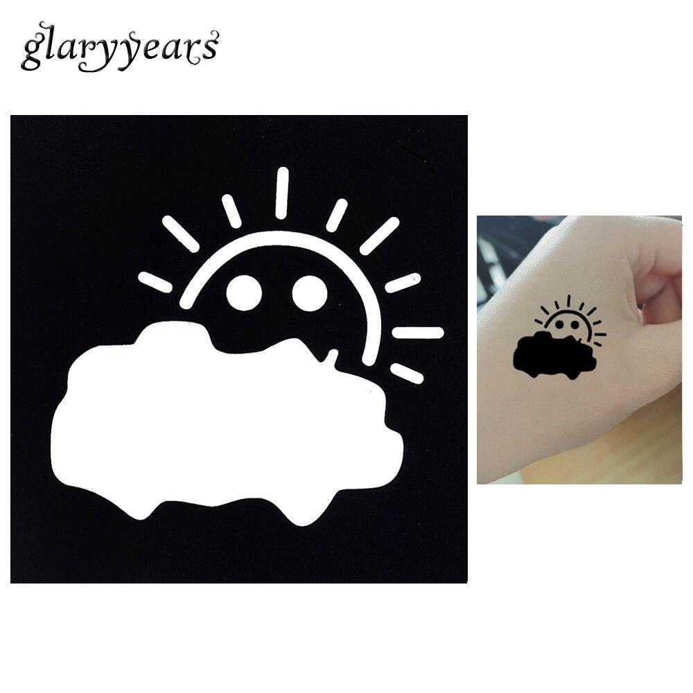 1 Blatt Tattoo Schablone Diy Body Art Airbrush Malerei Sun Cloud Kleine Henna Tattoo Schablone Design Temporäre Zeichnungsvorlage G61