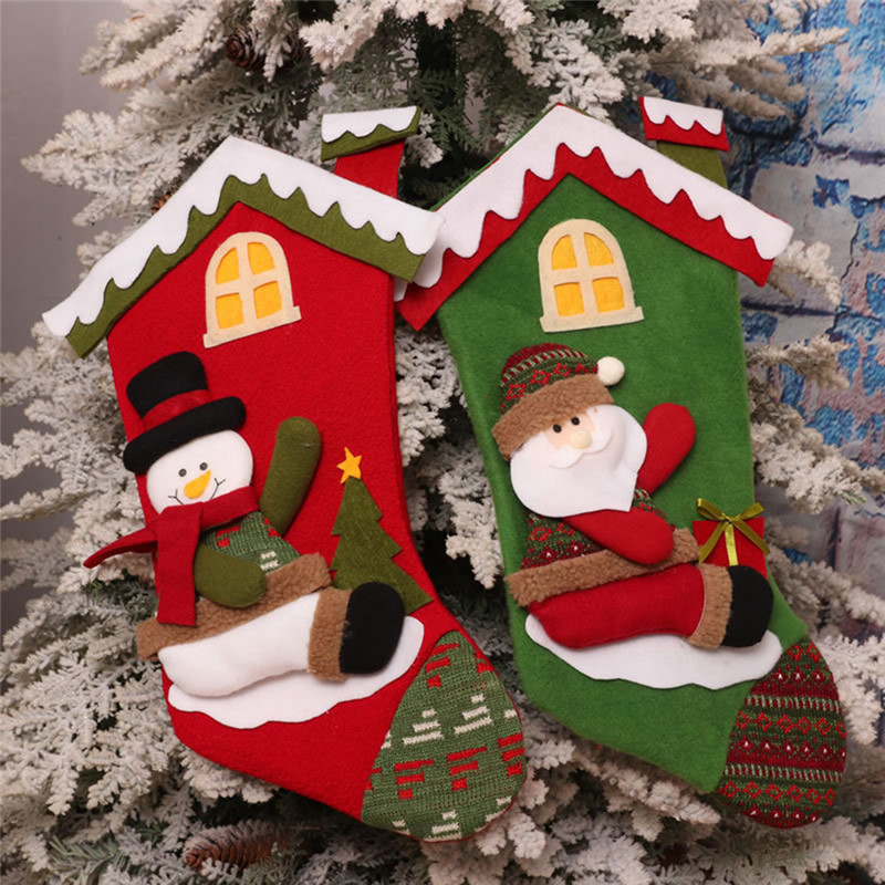 2017 Creative Christmas Stocking Chrismas Decorations for Home Christmas Tree Ornaments Gift Holders Stockings Enfeite De Natal ...