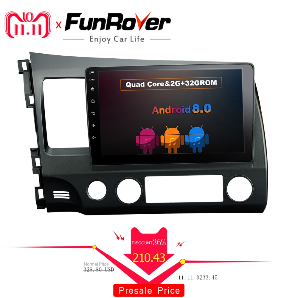 FUNROVER android 8.0 2 din car dvd for honda civic 2006-2011 navigation gps car radio video stereo multimedia player 2G RAM 32G funrover 2 din android car dvd player multimedia for mitsubishi asx 2011 2015 peugeot 4008 citroen c4 aircross gps radio stereo