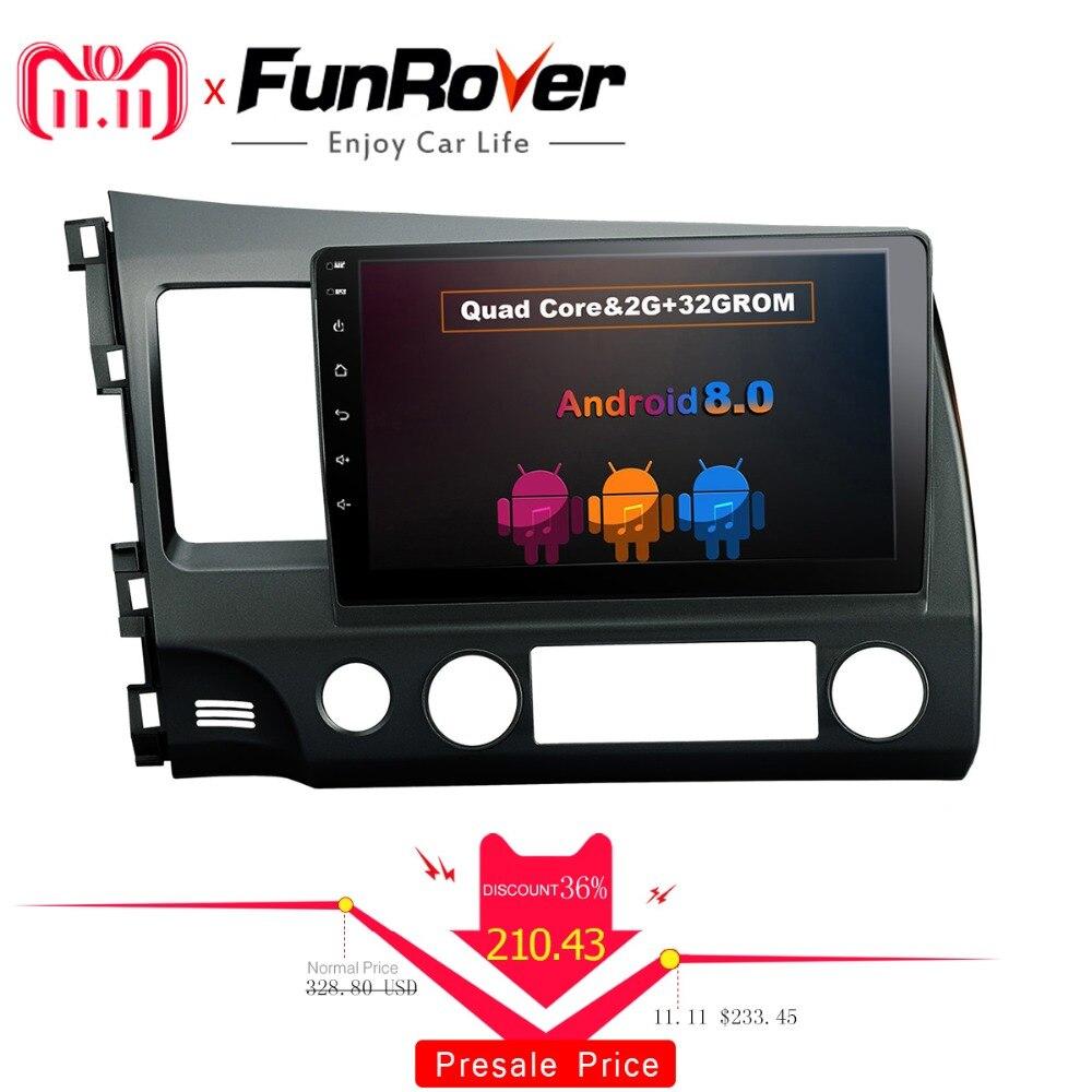 FUNROVER android 8.0 2 din dvd de voiture pour honda civic 2006-2011 navigation gps de voiture radio vidéo stéréo multimédia lecteur 2g RAM 32g
