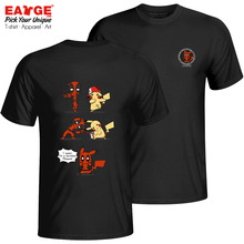Impossible Fusion Of Deadpool And Pika T-shirt Anime Crossover T Shirt Original Design Women Men Cotton Black Double Sided Top