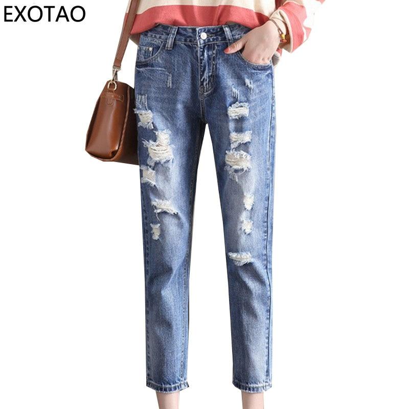 EXOTAO Harem Jeans Pants Women Ripped Denim Trousers Streetwear Autumn Denim Pantalon High Waist Vaqueros Ankle Leghth Jeans