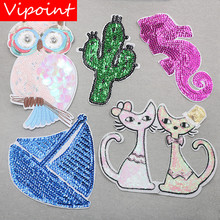 VIPOINT embroidery Sequins big owl cats patches cactus sea horse badges applique for clothing XW-83