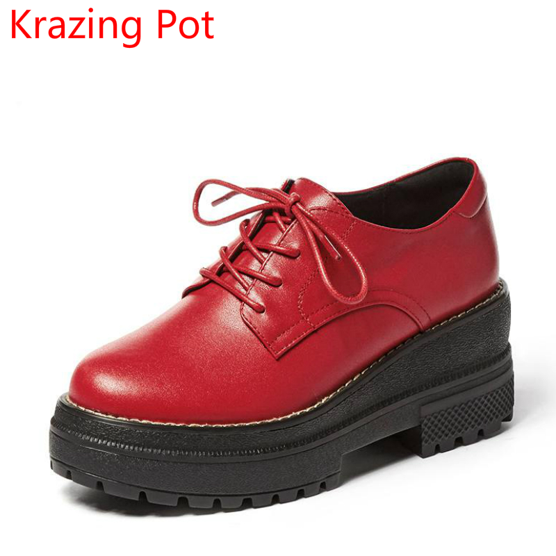2018 Genuine Leather Red Spring Shoes Women Round Toe Lace Up  Thick Heel Superstar Office Lady Pumps Increased Casual Shoes L07 e toy word canvas shoes women han edition 2017 spring cowboy increased thick soles casual shoes female side zip jeans blue 35 40