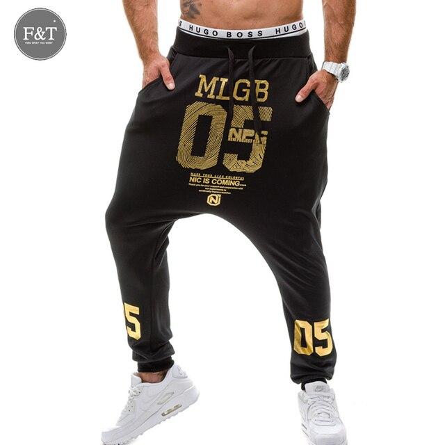 Caliente A Estrenar de Los Hombres Pantalones Harem Letra Impresa de Los Hombres Pantalones Casuales Hombres Pantalones del Baile de Corredores De Algodón Hombres Pantalones Delgados ropa deportiva